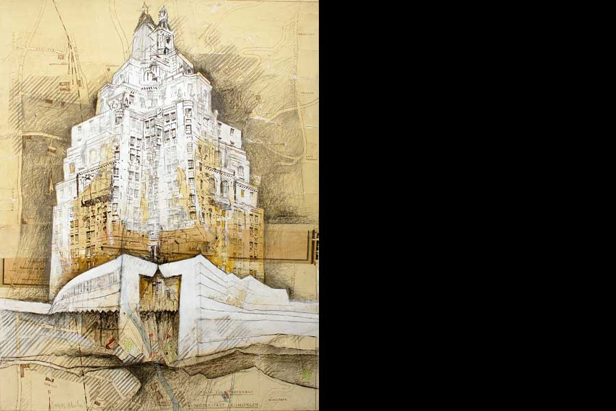 Turmhausgespenst I/ High-Rise-Ghost I, 2007 - Collage/ Acrylic on Canvas, 180x140 cm